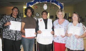 Caregivers at Eastside Day Care in Spartanburg, S.C., recently completed their Plan 1 training with the South Carolina Program for Infant/Toddler Care. From left, are Lorraine Robinson, Diana Harris, Director Brenda Miller, Susan Skinner and Susan Ogle.