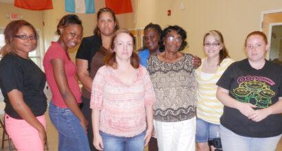 Staff members of Children's World Childcare in Lexington celebrate
